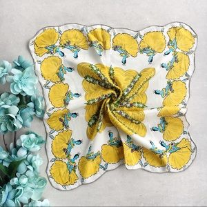 Vintage Ballerina Handkerchief Silk Yellow
